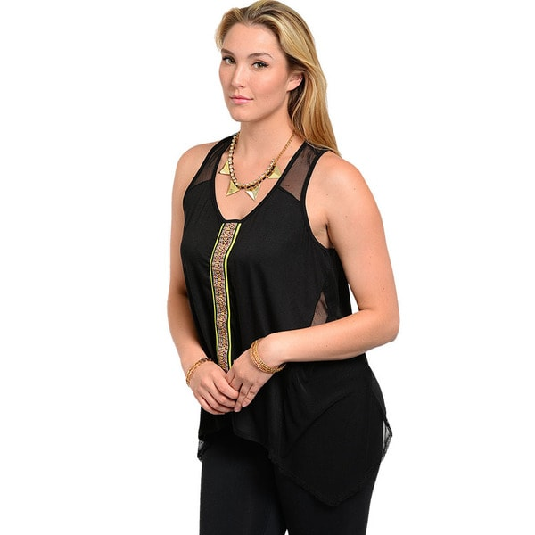 Shop The Trends Women's Plus Size Tribal Sleeveless Top