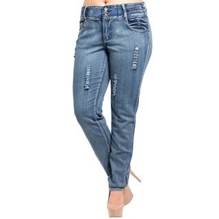 Feellib Women's Plus Size Slim Leg Distressed Ripped Denim Jeans
