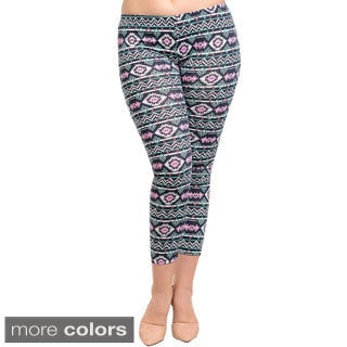 Feellib Women's Plus Size Stretch Knit Aztec Slim Leggings