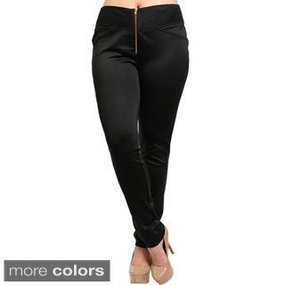 Shop The Trends Women's Plus Size Slim Leg Knit Pants