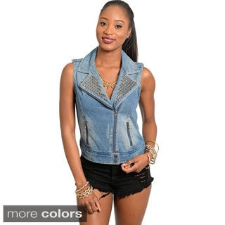 Feellib Women's Sleeveless Moto Style Denim Vest
