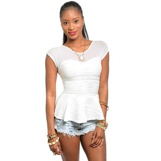 Shop The Trends Women's Ivory Sheer Sweetheart Neckline Peplum Top
