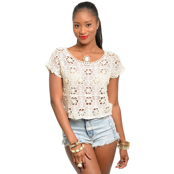 Shop The Trends Women's Ivory Daisy Crocheted Boxy Fit Top