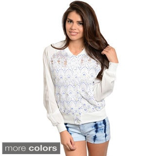 Feellib Women's Eyelet Fabric Raglan-sleeve Sweater