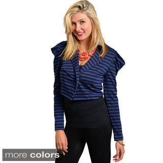Feellib Women's Striped Cropped Blazer