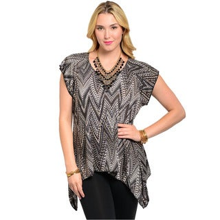 Feellib Women's Plus Size Psychedelic Pattern Trapeze Top