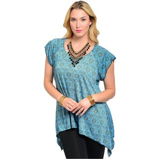 Feellib Women's Plus Size Blue Psychedelic Pattern Trapeze Top