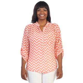 Hadari Women's Plus Henley Chevron Zig-zag Top