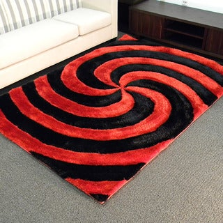 3D Shaggy-804 Abstract 2-tone Large Swirl Red Area Rug (5' x 7')