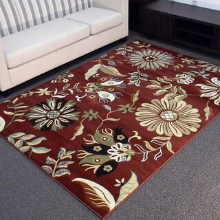 Tiffany Design-167 Floral Burgundy Area Rug (5' x 7')