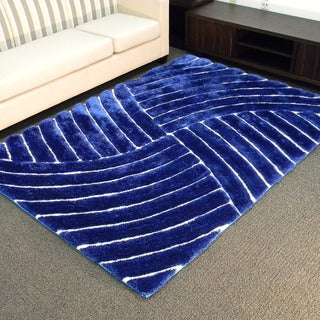 3D Shaggy-800 Abstract Wave Cobalt Area Rug (5' x 7')