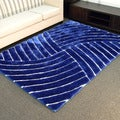 3D Shaggy-800 Abstract Wave Cobalt Area Rug (5' x 7')