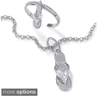 PalmBeach Diamond Accent Flip Flop Anklet & Toe Ring Set in Platinum over Sterling Silver or 18k Gold over Sterling Silver