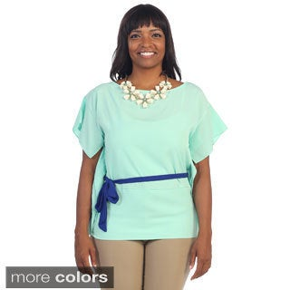 Women's Plus Size Boat Neck Short Sleeve Blouse