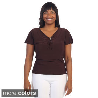 Hadari Women's Plus Size Casual V-neck Top