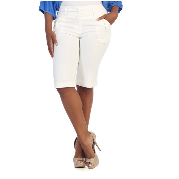Hadari Women's Plus Size White Cropped Capri Pants