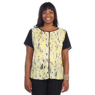 Hadari Women's Plus Size Contrast Floral Top