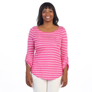 Hadari Women's Plus Size Fuchsia Striped 3/4-length Sleeve Top