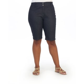 Hadari Women's Contemporary Plus Size Dual-button Capris