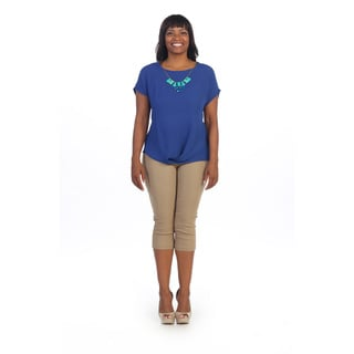 Hadari Women's Plus Size Blue Short Sleeve Blouse