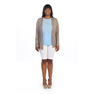 Hadari Wom�n's Plus Size Taupe Long Sleeve Open Cardigan