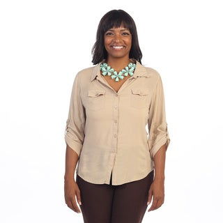 Hadari Women's Plus Size Beige 3/4-length Sleeve Button Up Top