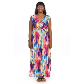 Hadari Women's Plus Size Tie-dye V-neck Maxi Dress