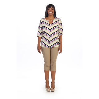 Hadari Women's Plus Size Ivory Boatneck 3/4-length Sleeve Top