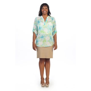Hadari Women's Plus Size Floral 3/4-length Sleeve Blouse