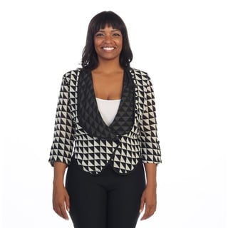 Hadari Women's Plus Size Checkered 3/4-length Sleeve Cardigan