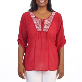 Hadari Women's Plus Size Red 3/4-length Sleeve Blouse