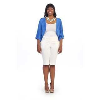 Hadari Women's Plus Size Blue Pleated Cuff Cardigan