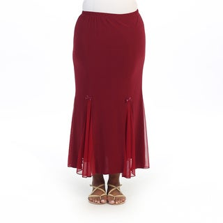 Hadari Women's Plus Burgandy Maxi Skirt
