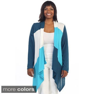 Hadari Women's Plus Colorblock Cardigan