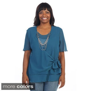 Hadari Women's Plus Drape Blouse with Removable Necklace