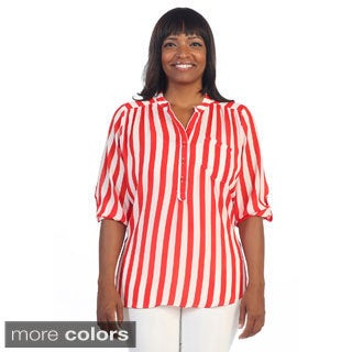 Hadari Women's Plus Henley Vertical Stripe Top