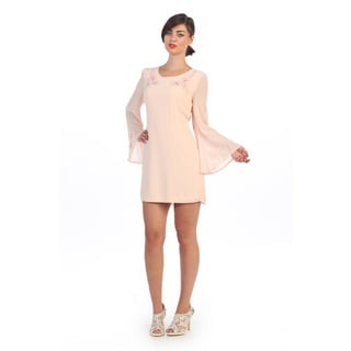 Hadari Women's Embroidered Blush Shift Dress