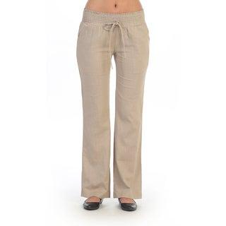 Hadari Women's Casual Beige Elastic Pants
