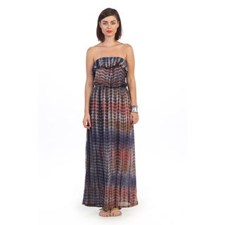 Hadari Women's Strapless Tie-dye Maxi Dress