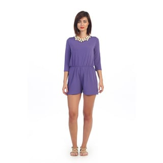 Hadari Women's 3/4-length Sleeve Purple Romper