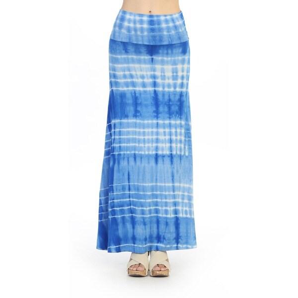 Hadari Women's Blue Tie-dye Maxi Skirt