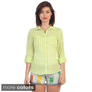 Hadari Women's Plaid Button-up