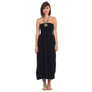 Hadari Women's Black Strapless Maxi Dress