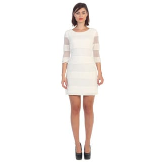 Hadari Women's White 3/4-length Shift Dress