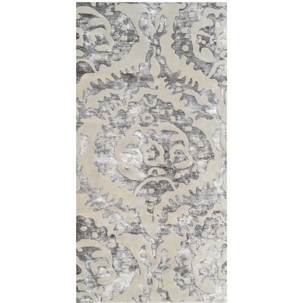 Sullivan Brown Cream/Brown Wool and Silk Floral Rug (8' x 11')