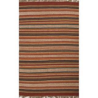 Flat Weave Stripe Pattern Red/ Blue Jute/ Chinille Area Rug (8' x 10')