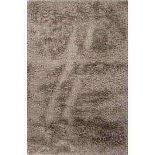 Solid Pattern Grey Polyester Shag Rug (9' x 12')