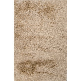 Solid Pattern Natural Polyester Shag Rug (9'x12')