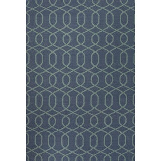 Flat Weave Geometric Pattern Blue Wool Area Rug (9' x 12')