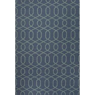 Flat Weave Geometric Pattern Blue Wool Area Rug (9' x 12')
